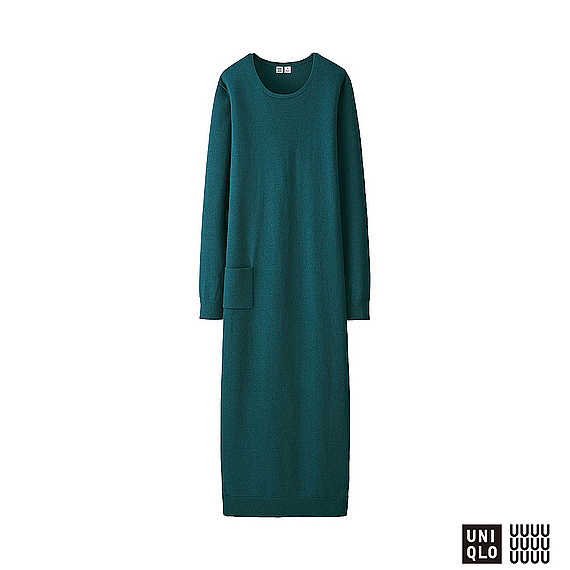 Women U Extra Fine Merino U Neck Long Dress Green - length: calf length; neckline: round neck; pattern: plain; style: maxi dress; predominant colour: teal; occasions: casual, creative work; fit: body skimming; fibres: wool - mix; sleeve length: long sleeve; sleeve style: standard; texture group: knits/crochet; pattern type: knitted - fine stitch; season: a/w 2016; wardrobe: highlight