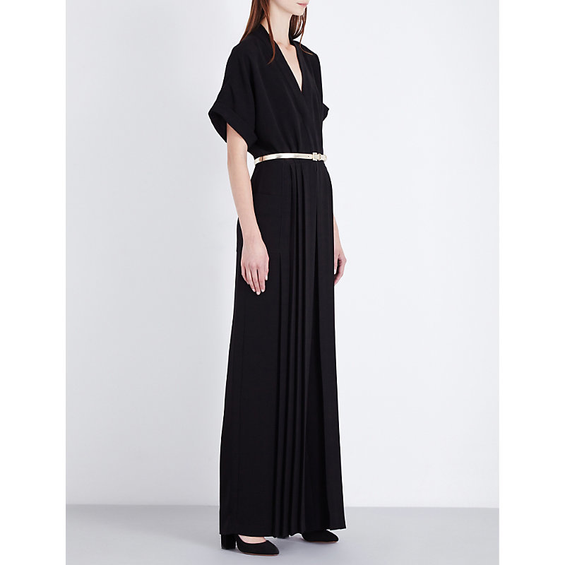 Rame Crepe Jumpsuit, Women's, Black - length: standard; neckline: low v-neck; fit: fitted at waist; pattern: plain; predominant colour: black; occasions: occasion; sleeve length: half sleeve; sleeve style: standard; texture group: crepes; style: jumpsuit; pattern type: fabric; fibres: viscose/rayon - mix; season: a/w 2016; wardrobe: event; embellishment location: waist