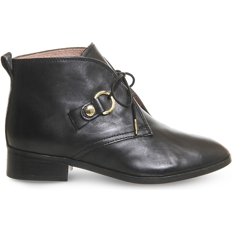 Larkin Lace Up Leather Ankle Boots, Women's, Black Leather - predominant colour: black; occasions: casual; material: leather; heel height: flat; heel: block; toe: pointed toe; boot length: ankle boot; style: standard; finish: plain; pattern: plain; wardrobe: basic; season: a/w 2016