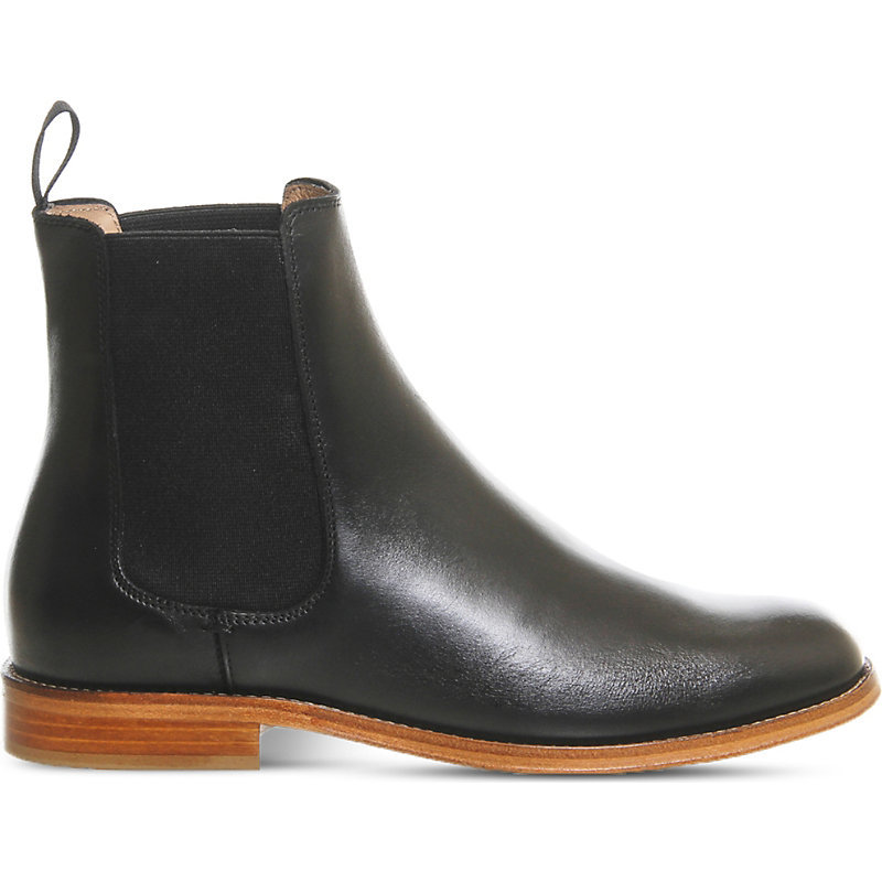 Belle Leather Chelsea Boots, Women's, Black Leather - predominant colour: black; occasions: casual; material: leather; heel height: flat; heel: standard; toe: round toe; boot length: ankle boot; finish: plain; pattern: plain; style: chelsea; wardrobe: basic; season: a/w 2016