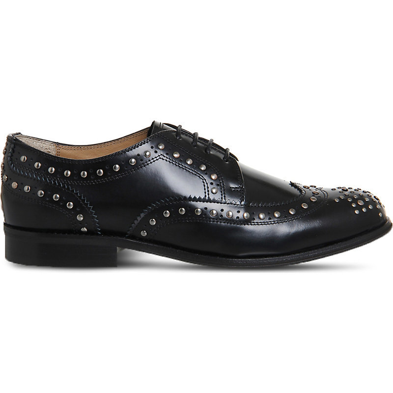 Billie Studded Leather Brogues, Women's, Black Box Leather - predominant colour: black; occasions: casual, work, creative work; material: leather; heel height: flat; toe: round toe; style: brogues; finish: plain; pattern: plain; wardrobe: basic; season: a/w 2016