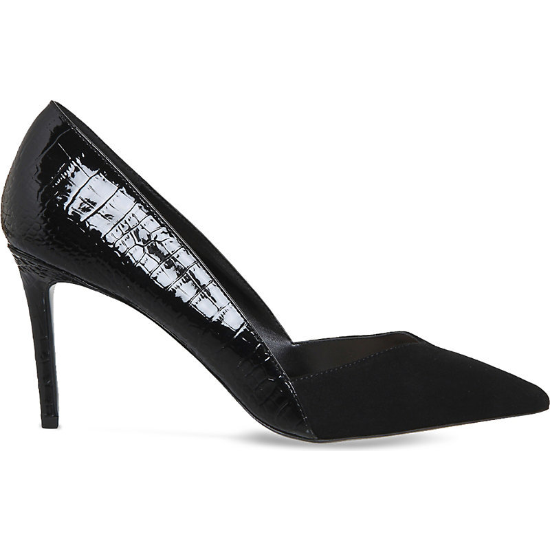 Freak Out Suede And Faux Leather Courts, Women's, Black Suede Croc - predominant colour: black; occasions: evening, work, occasion; material: faux leather; heel: stiletto; toe: pointed toe; style: courts; finish: patent; pattern: animal print; heel height: very high; season: a/w 2016