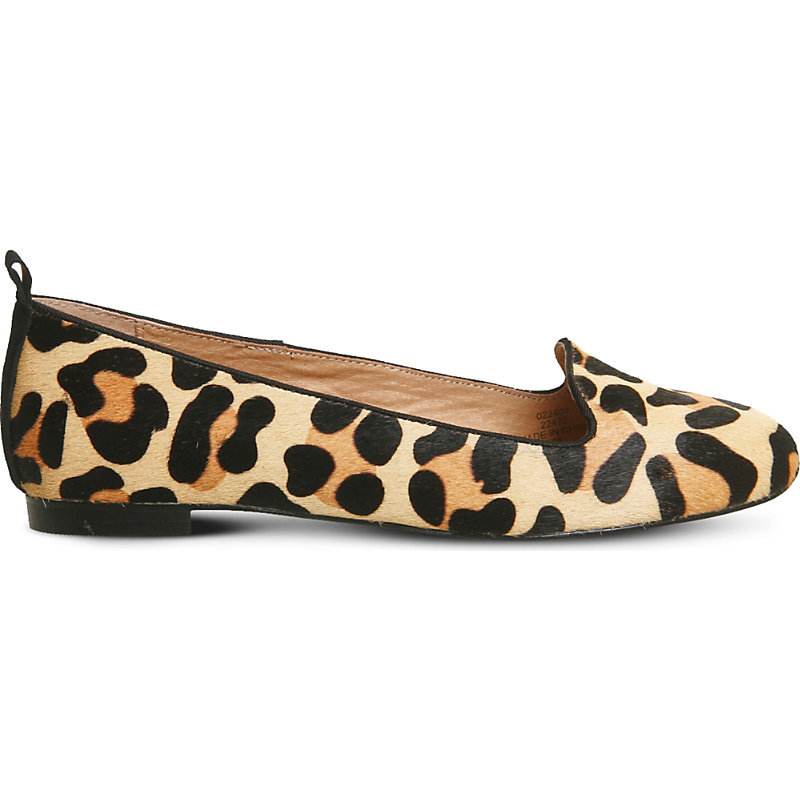 Royal Leopard Print Leather Loafers, Women's, New Leopard Cow Hair - predominant colour: camel; occasions: casual, creative work; material: leather; heel height: flat; toe: round toe; style: ballerinas / pumps; finish: plain; pattern: animal print; season: a/w 2016