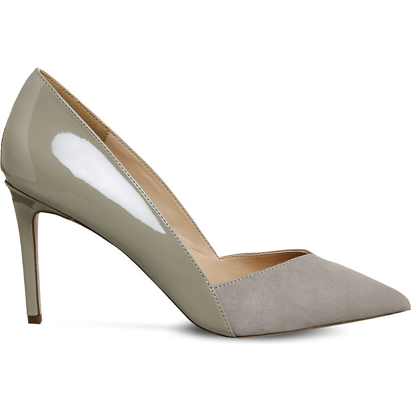 Freak Out Suede Court Shoes, Women's, Grey Suede Patent - predominant colour: mid grey; occasions: evening, work, occasion; material: faux leather; heel: stiletto; toe: pointed toe; style: courts; finish: patent; pattern: plain; heel height: very high; season: a/w 2016; wardrobe: highlight
