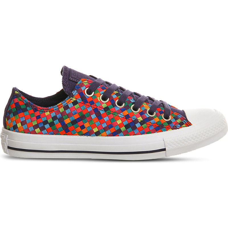 All Star Woven Canvas Trainers, Women's, Multi Woven Canvas - predominant colour: white; occasions: casual; material: fabric; heel height: flat; toe: round toe; style: trainers; finish: plain; pattern: patterned/print; shoe detail: tread; multicoloured: multicoloured; season: a/w 2016; wardrobe: highlight