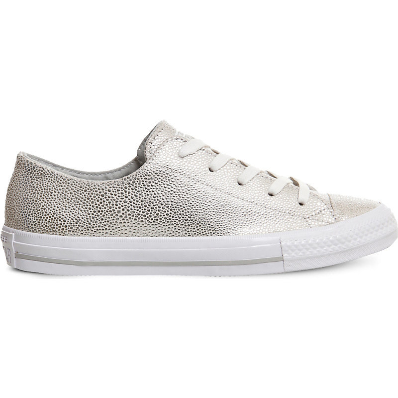 Gemma Metallic Leather Trainers, Women's, Pure Silver Stingray - predominant colour: silver; occasions: casual; material: leather; heel height: flat; toe: round toe; style: trainers; finish: metallic; pattern: plain; shoe detail: moulded soul; season: a/w 2016; wardrobe: highlight