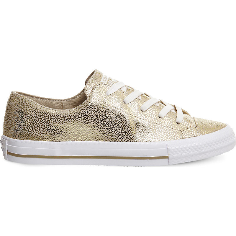 Gemma Metallic Leather Trainers, Women's, Light Gold Stingray - predominant colour: gold; occasions: casual; material: leather; heel height: flat; toe: round toe; style: trainers; finish: metallic; pattern: plain; shoe detail: moulded soul; season: a/w 2016; wardrobe: highlight
