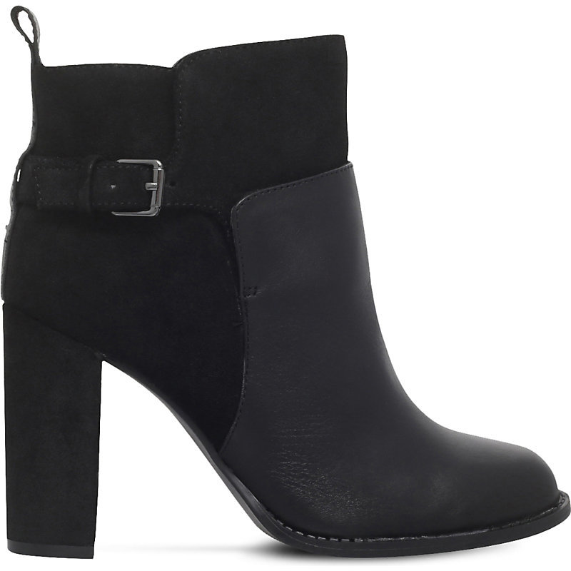 Quinah Buckled Leather Boots, Women's, Eur 41 / 8 Uk Women, Black - predominant colour: black; occasions: casual, work, creative work; material: leather; heel height: high; embellishment: buckles; heel: block; toe: round toe; boot length: ankle boot; style: standard; finish: plain; pattern: plain; season: a/w 2016; wardrobe: highlight