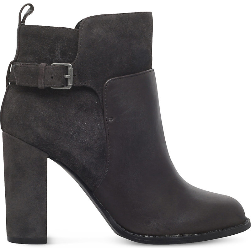 Quinah Buckled Leather Boots, Women's, Eur 38 / 5 Uk Women, Dark Grey - predominant colour: charcoal; occasions: casual, work, creative work; material: suede; embellishment: buckles; heel: block; toe: round toe; boot length: ankle boot; style: standard; finish: plain; pattern: plain; heel height: very high; season: a/w 2016