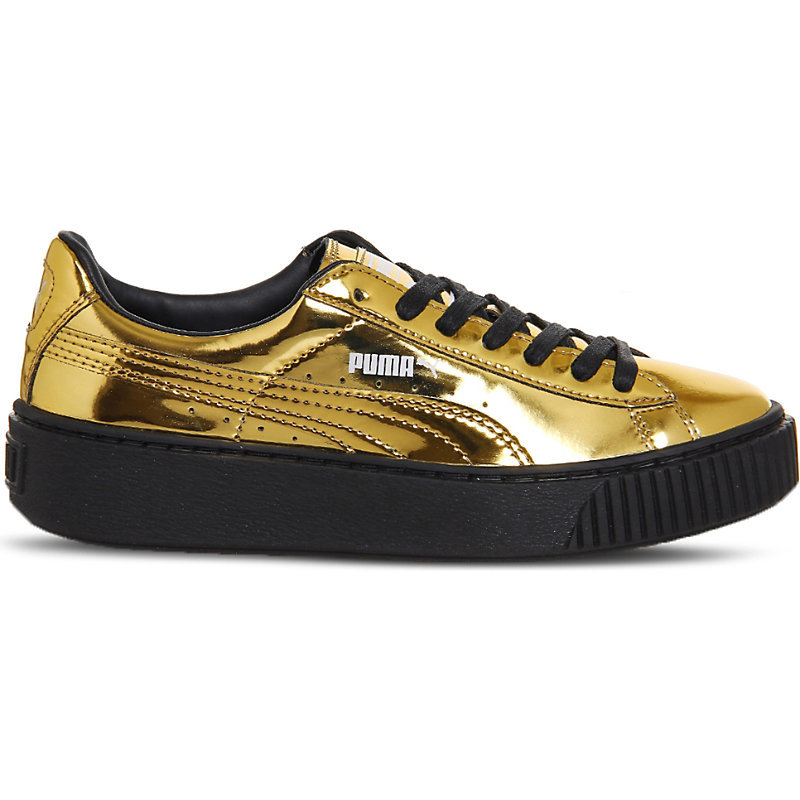 Basket Platform Metallic Leather Trainers, Women's, Gold Metallic Black - predominant colour: gold; secondary colour: black; occasions: casual; material: leather; heel height: flat; toe: round toe; style: trainers; finish: metallic; pattern: colourblock; shoe detail: moulded soul; season: a/w 2016; wardrobe: highlight
