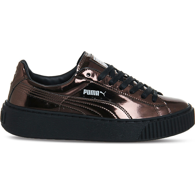 Basket Platform Metallic Leather Trainers, Women's, Black Metallic Black - predominant colour: black; occasions: casual; material: leather; heel height: flat; toe: round toe; style: trainers; finish: metallic; pattern: plain; shoe detail: moulded soul; season: a/w 2016; wardrobe: highlight