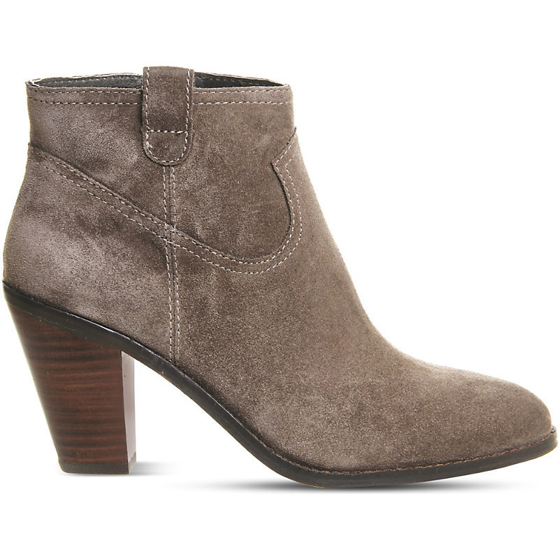 Ivana Suede Heeled Ankle Boots - predominant colour: stone; occasions: casual; material: suede; heel height: high; heel: block; toe: round toe; boot length: ankle boot; style: standard; finish: patent; pattern: plain; season: a/w 2016; wardrobe: highlight