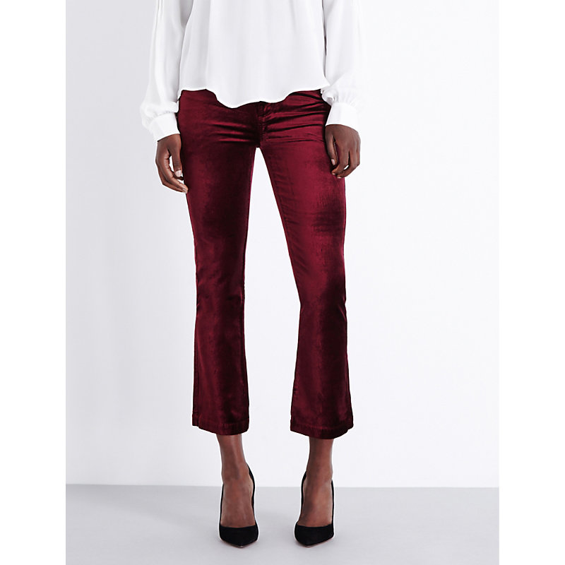 Colette Flared High Rise Velvet Jeans, Women's, Ruby Red - style: flares; pattern: plain; waist: high rise; pocket detail: traditional 5 pocket; occasions: casual, evening, creative work; length: calf length; fibres: cotton - mix; pattern type: fabric; texture group: velvet/fabrics with pile; predominant colour: raspberry; season: a/w 2016; wardrobe: highlight