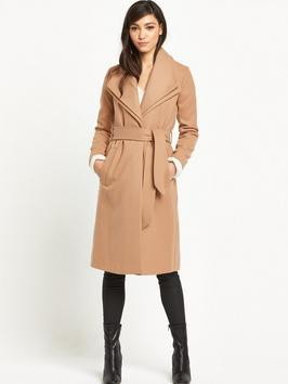 Double Collar Robe Coat - pattern: plain; collar: shawl/waterfall; style: double breasted; length: on the knee; predominant colour: camel; occasions: casual, creative work; fit: tailored/fitted; fibres: polyester/polyamide - stretch; sleeve length: long sleeve; sleeve style: standard; collar break: medium; pattern type: fabric; texture group: woven bulky/heavy; wardrobe: basic; season: a/w 2016