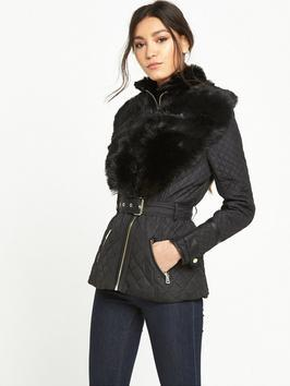 Short Quilted Coat With Faux Fur Collar - pattern: plain; length: standard; style: quilted; predominant colour: black; occasions: casual, creative work; fit: tailored/fitted; fibres: polyester/polyamide - 100%; waist detail: belted waist/tie at waist/drawstring; sleeve length: long sleeve; sleeve style: standard; texture group: technical outdoor fabrics; collar: fur; collar break: medium; pattern type: fabric; embellishment: fur; season: a/w 2016; wardrobe: highlight; embellishment location: bust, neck, shoulder