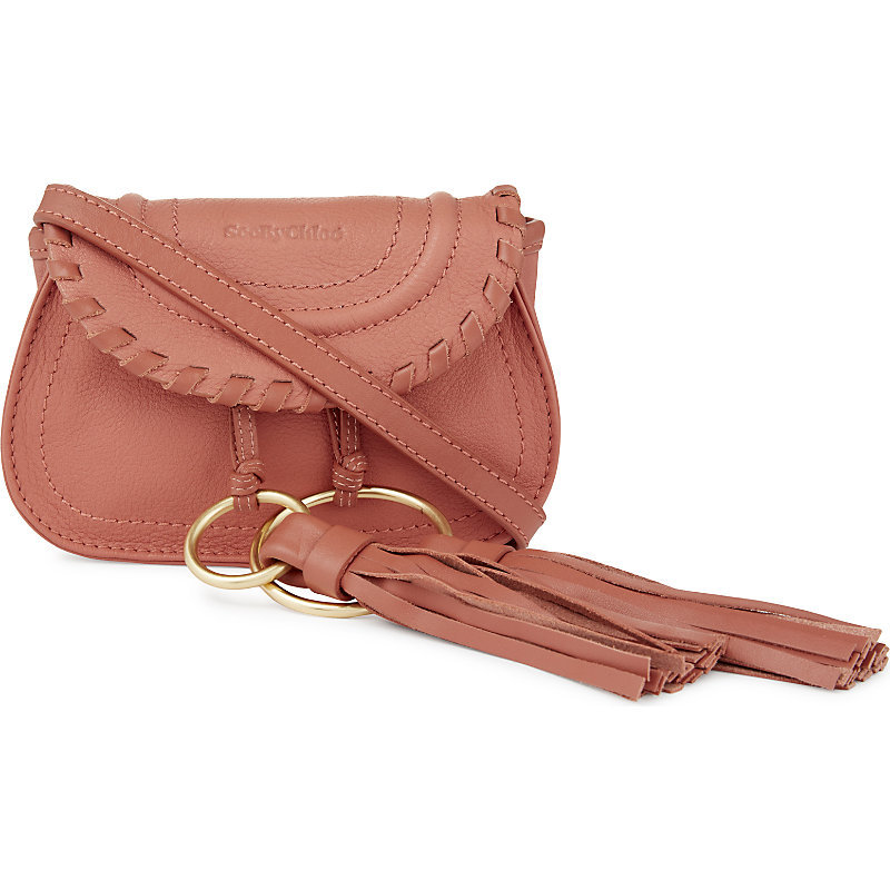 Polly Leather Belt Bag, Women's, Pink Blush - occasions: casual, creative work; type of pattern: standard; style: saddle; length: across body/long; size: standard; material: leather; embellishment: tassels; pattern: plain; finish: plain; predominant colour: dusky pink; season: a/w 2016; wardrobe: highlight