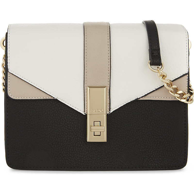 Fallopia Cross Body Bag, Women's, Black - secondary colour: white; predominant colour: black; occasions: casual, creative work; type of pattern: standard; style: messenger; length: across body/long; size: standard; material: faux leather; finish: plain; pattern: colourblock; embellishment: chain/metal; season: a/w 2016; wardrobe: highlight