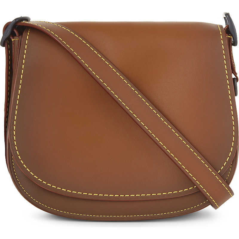 Glovetanned Leather Saddle Bag 23, Women's, Bp/1941 Saddle - predominant colour: tan; occasions: casual, creative work; type of pattern: standard; style: saddle; length: across body/long; size: standard; material: leather; pattern: plain; finish: plain; season: a/w 2016; wardrobe: highlight