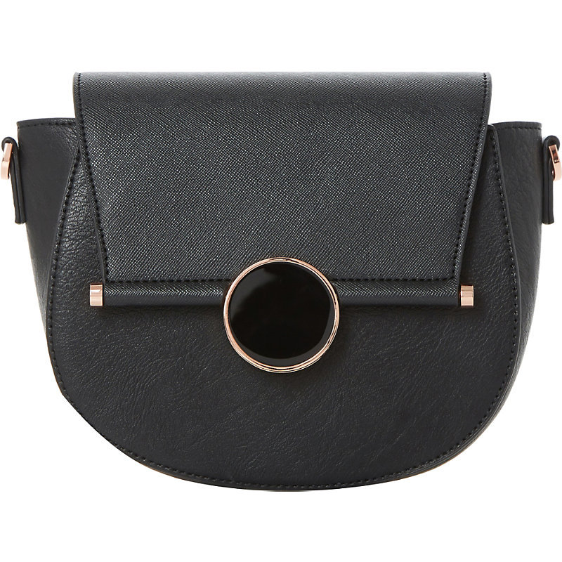 Ebonnie Locked Saddle Bag, Women's, Black Synthetic - predominant colour: black; occasions: casual, creative work; type of pattern: standard; style: saddle; length: shoulder (tucks under arm); size: standard; material: faux leather; pattern: plain; finish: plain; wardrobe: basic; season: a/w 2016