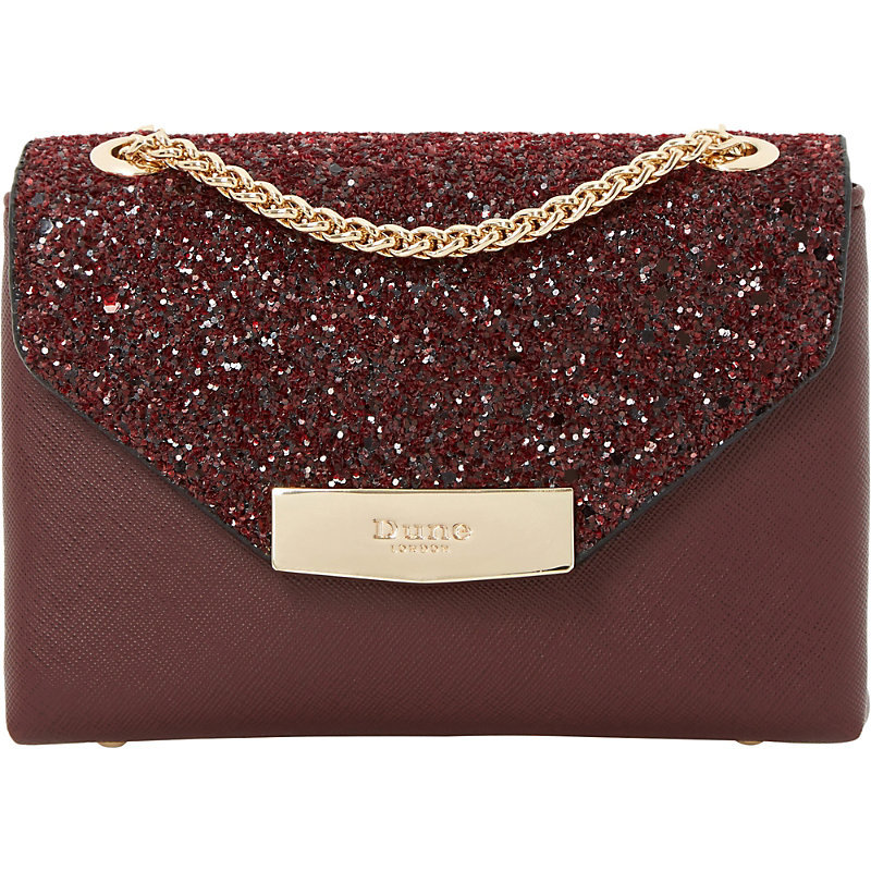 Serenity Sequinned Micro Bag, Women's, Maroon - predominant colour: burgundy; secondary colour: gold; occasions: evening, occasion; type of pattern: standard; style: messenger; length: handle; size: standard; material: leather; embellishment: sequins; pattern: plain; finish: plain; season: a/w 2016; wardrobe: event