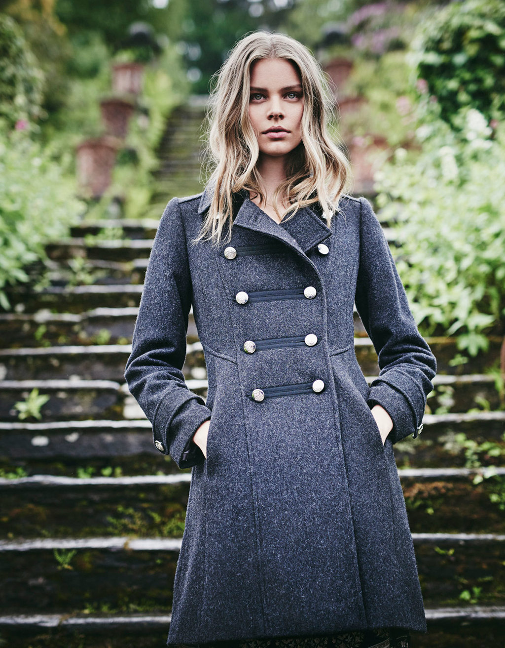 Adrianna Military Coat - pattern: plain; style: double breasted; collar: standard lapel/rever collar; length: mid thigh; predominant colour: charcoal; occasions: casual, creative work; fit: tailored/fitted; fibres: wool - mix; sleeve length: long sleeve; sleeve style: standard; collar break: high/illusion of break when open; pattern type: fabric; pattern size: standard; texture group: woven bulky/heavy; wardrobe: basic; season: a/w 2016; trends: military