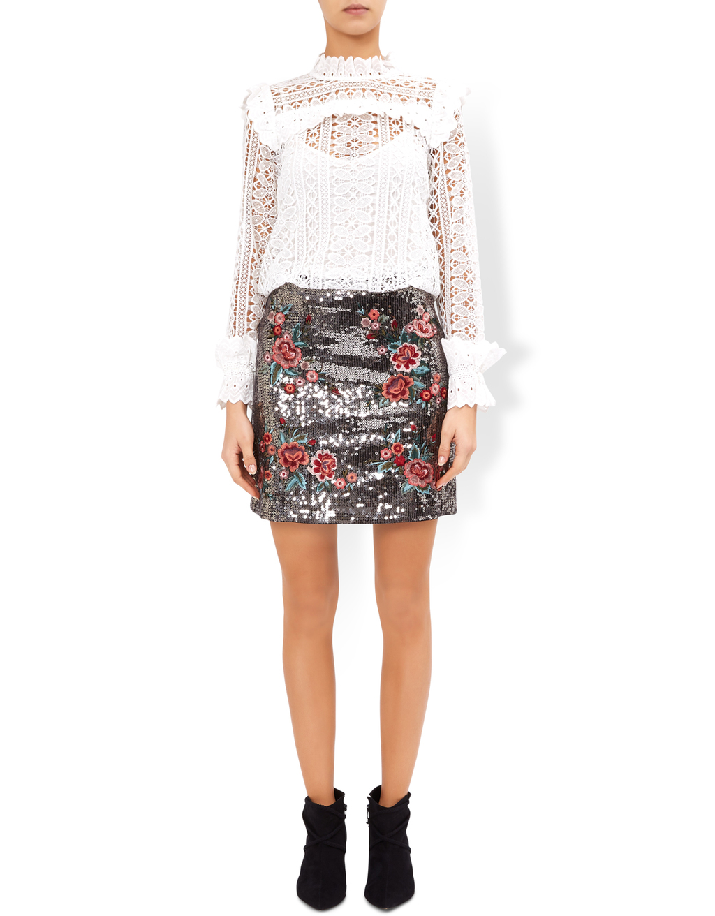 Tabia Sequin Skirt - style: straight; fit: body skimming; waist: high rise; secondary colour: true red; predominant colour: black; occasions: casual, creative work; length: just above the knee; fibres: cotton - 100%; pattern type: fabric; pattern: patterned/print; texture group: other - light to midweight; multicoloured: multicoloured; season: a/w 2016; wardrobe: highlight