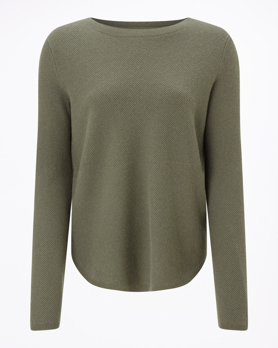 Surrealist Cashmere Jumper - neckline: slash/boat neckline; pattern: plain; style: standard; predominant colour: khaki; occasions: casual, work, creative work; length: standard; fit: standard fit; fibres: cashmere - 100%; sleeve length: long sleeve; sleeve style: standard; texture group: knits/crochet; pattern type: knitted - fine stitch; season: a/w 2016