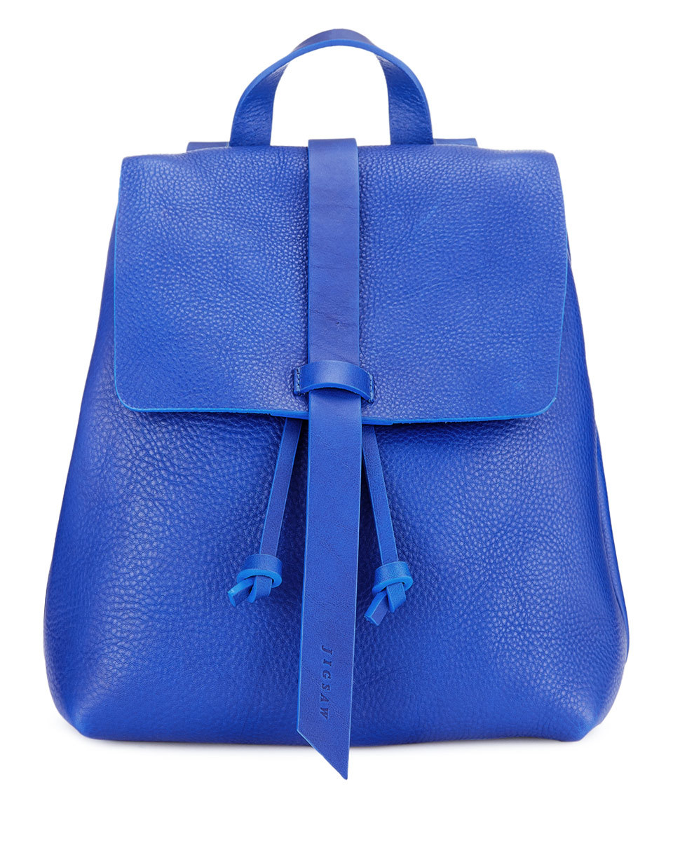 Blake Leather Backpack - predominant colour: diva blue; occasions: casual, creative work; type of pattern: standard; style: rucksack; length: rucksack; size: standard; material: leather; pattern: plain; finish: plain; season: a/w 2016; wardrobe: highlight