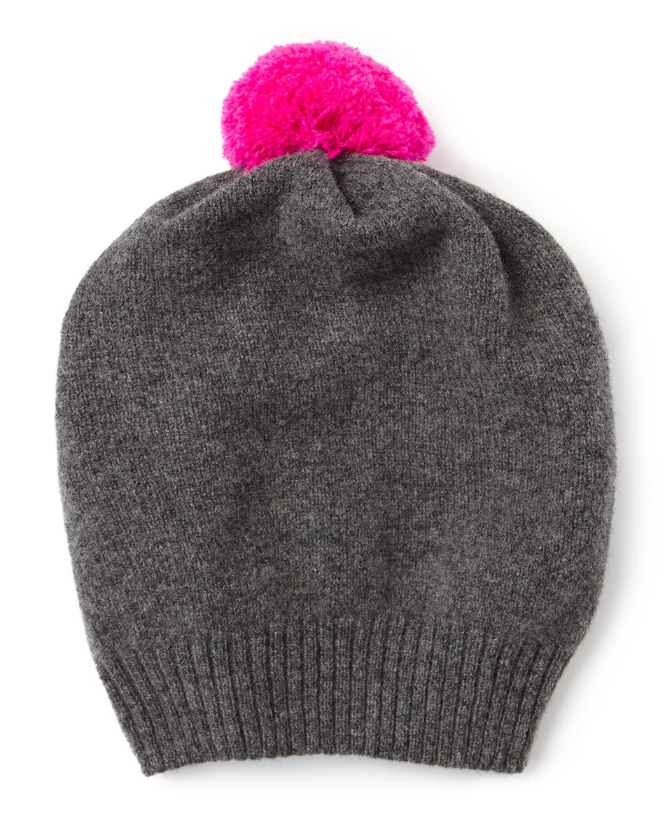 Shona Contrast Knit Pom Hat - secondary colour: hot pink; predominant colour: charcoal; occasions: casual; type of pattern: standard; style: bobble; size: standard; material: knits; pattern: plain; embellishment: pompom; wardrobe: basic; season: a/w 2016