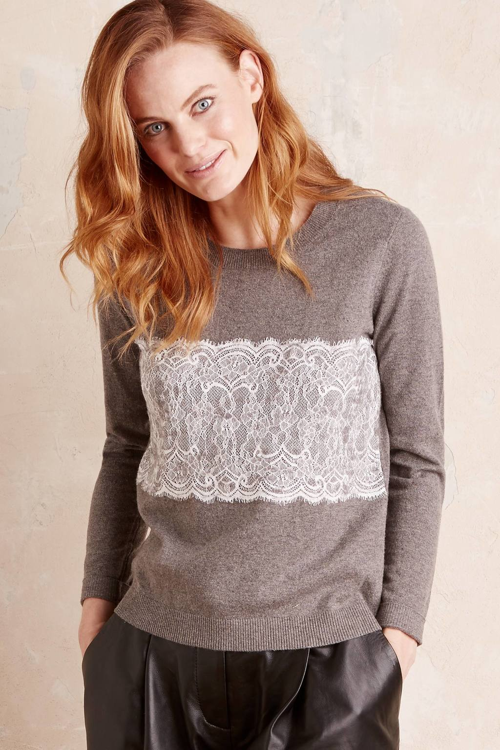 Tilly Laced Jumper - neckline: round neck; pattern: plain; style: standard; predominant colour: taupe; occasions: casual, creative work; length: standard; fibres: cotton - mix; fit: standard fit; sleeve length: long sleeve; sleeve style: standard; texture group: knits/crochet; pattern type: knitted - fine stitch; embellishment: lace; season: a/w 2016; wardrobe: highlight