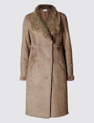 Shearling Faux Fur Coat - pattern: plain; collar: wide lapels; predominant colour: taupe; occasions: casual, work, creative work; fit: tailored/fitted; fibres: polyester/polyamide - 100%; style: fur coat; length: below the knee; sleeve length: long sleeve; sleeve style: standard; collar break: medium; pattern type: fabric; texture group: sheepskin; season: a/w 2016; wardrobe: highlight