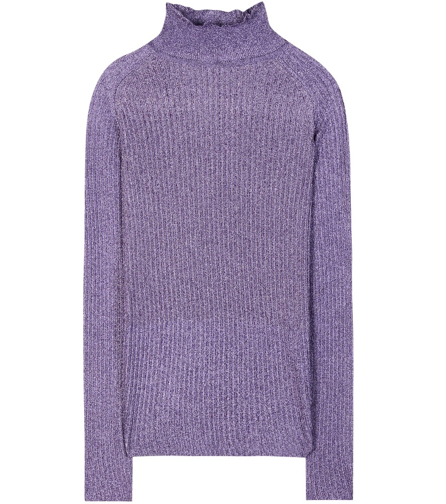 Metallic Turtleneck Sweater - pattern: plain; neckline: wide roll/funnel neck; length: below the bottom; style: standard; predominant colour: purple; occasions: casual, creative work; fit: standard fit; sleeve length: long sleeve; sleeve style: standard; texture group: knits/crochet; pattern type: knitted - fine stitch; fibres: viscose/rayon - mix; season: a/w 2016; wardrobe: highlight