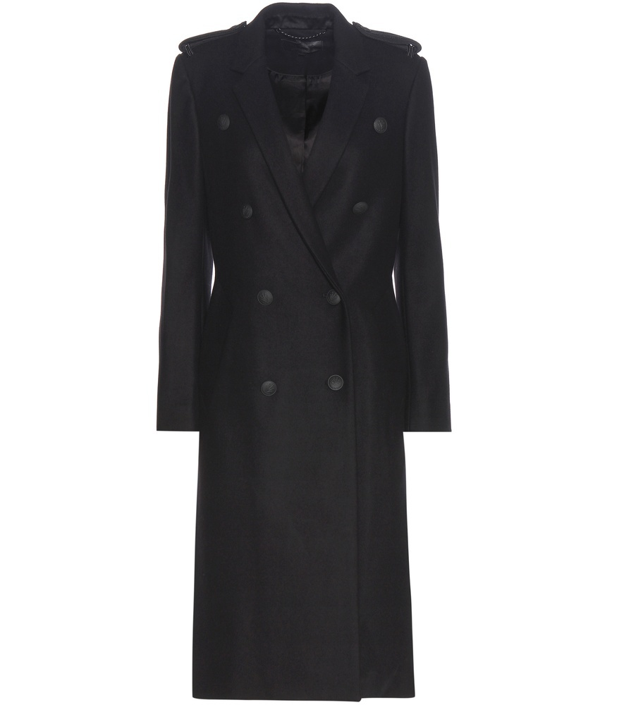 Virgin Wool Blend Coat - pattern: plain; shoulder detail: obvious epaulette; style: double breasted; collar: standard lapel/rever collar; predominant colour: navy; occasions: casual; fit: tailored/fitted; fibres: wool - mix; length: below the knee; sleeve length: long sleeve; sleeve style: standard; collar break: medium; pattern type: fabric; texture group: woven bulky/heavy; season: a/w 2016