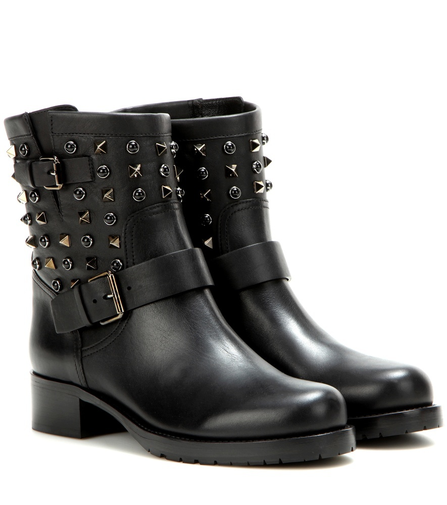 Garavani Rockstud Rolling Noir Leather Ankle Boots - predominant colour: black; occasions: casual, creative work; material: leather; heel height: mid; embellishment: studs; heel: block; toe: round toe; boot length: ankle boot; style: biker boot; finish: plain; pattern: plain; season: a/w 2016; wardrobe: highlight