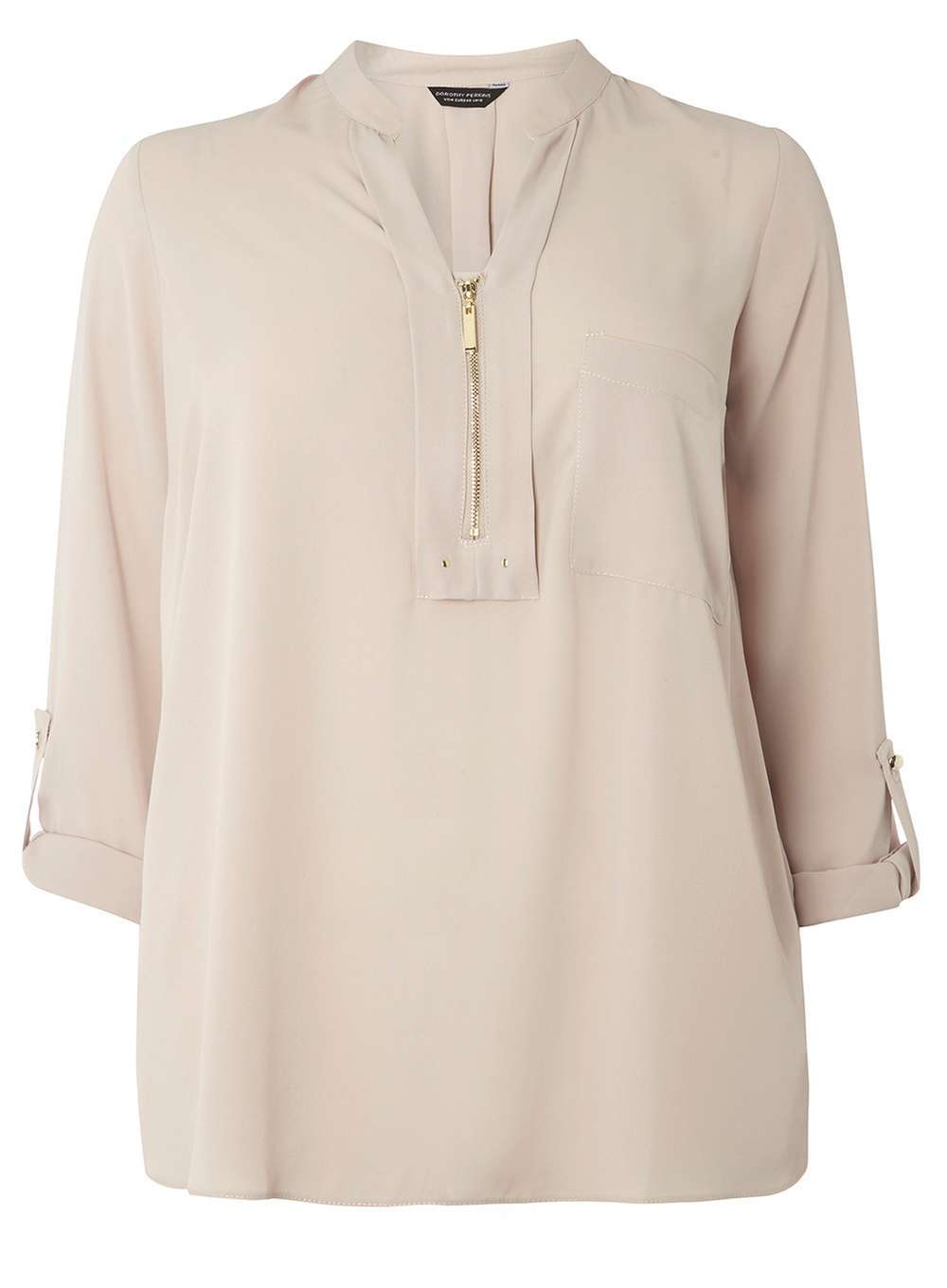 Womens Dp Curve Plus Size Mink Notch Neck Zip Shirt Brown - pattern: plain; style: blouse; predominant colour: light grey; occasions: casual, creative work; length: standard; neckline: collarstand & mandarin with v-neck; fibres: polyester/polyamide - 100%; fit: loose; sleeve length: 3/4 length; sleeve style: standard; pattern type: fabric; texture group: other - light to midweight; wardrobe: basic; season: a/w 2016