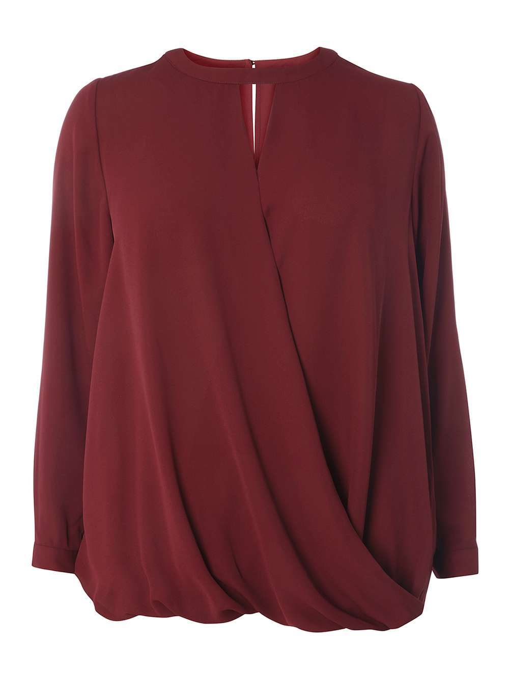 Womens Dp Curve Plus Size Berry Keyhole Wrap Top Red - pattern: plain; style: blouse; predominant colour: burgundy; occasions: evening; length: standard; neckline: peep hole neckline; fibres: polyester/polyamide - 100%; fit: loose; sleeve length: long sleeve; sleeve style: standard; texture group: sheer fabrics/chiffon/organza etc.; pattern type: fabric; season: a/w 2016; wardrobe: event
