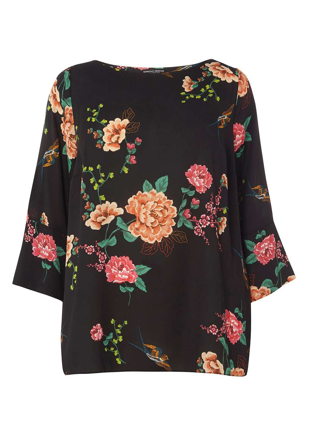 Womens Dp Curve Plus Size Black Floral Soft Top Black - neckline: slash/boat neckline; length: below the bottom; style: blouse; secondary colour: pink; predominant colour: black; occasions: evening; fibres: polyester/polyamide - 100%; fit: loose; sleeve length: 3/4 length; sleeve style: standard; pattern type: fabric; pattern: florals; texture group: other - light to midweight; multicoloured: multicoloured; season: a/w 2016; wardrobe: event