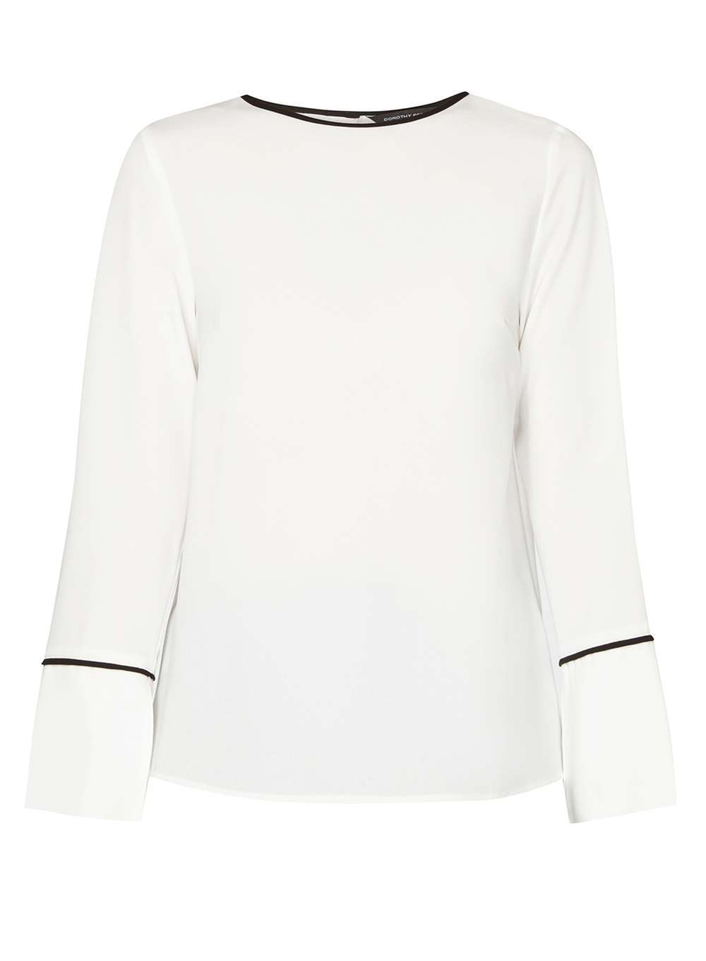 Womens Ivory Longsleeve Wide Cuff Top White - length: below the bottom; style: blouse; predominant colour: white; secondary colour: black; occasions: casual, creative work; fibres: polyester/polyamide - 100%; fit: straight cut; neckline: crew; sleeve length: long sleeve; sleeve style: standard; pattern type: fabric; pattern size: light/subtle; pattern: colourblock; texture group: other - light to midweight; season: a/w 2016; wardrobe: highlight