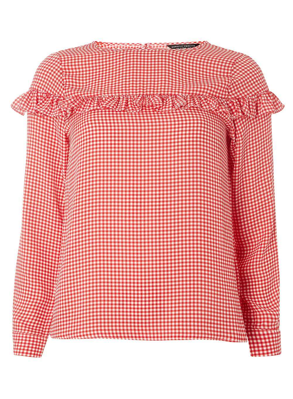 Womens Red Gingham Blouse Red - neckline: round neck; pattern: checked/gingham; style: blouse; predominant colour: true red; occasions: casual, creative work; length: standard; fibres: polyester/polyamide - 100%; fit: body skimming; sleeve length: long sleeve; sleeve style: standard; bust detail: tiers/frills/bulky drapes/pleats; pattern type: fabric; texture group: other - light to midweight; season: a/w 2016