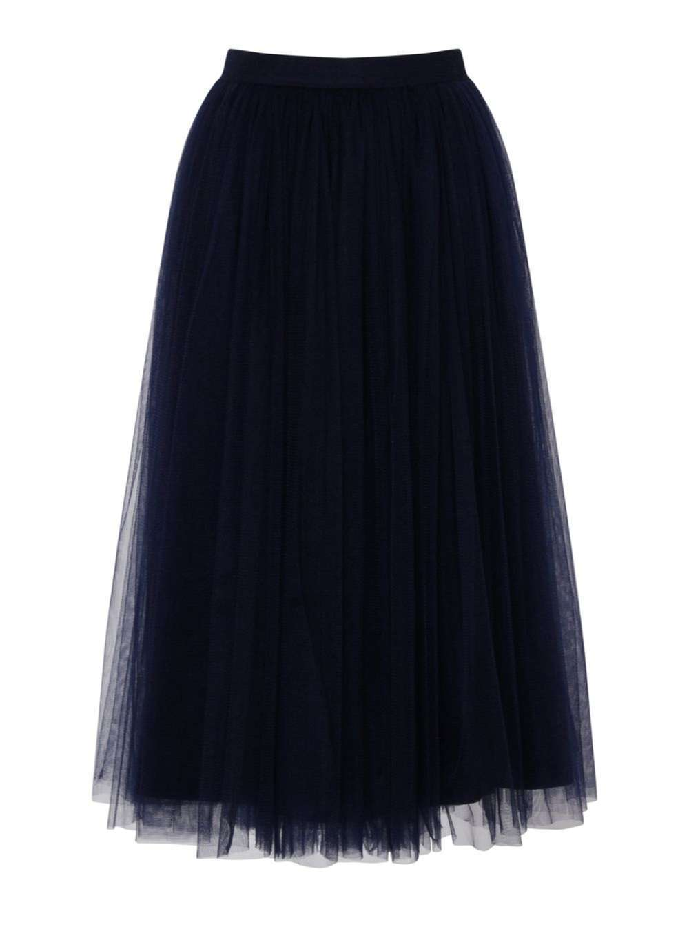 Womens **Little Mistress Navy Tulle Midi Skirt Blue - length: below the knee; pattern: plain; style: full/prom skirt; fit: loose/voluminous; waist: high rise; predominant colour: navy; fibres: polyester/polyamide - stretch; occasions: occasion; texture group: sheer fabrics/chiffon/organza etc.; pattern type: fabric; season: a/w 2016; wardrobe: event