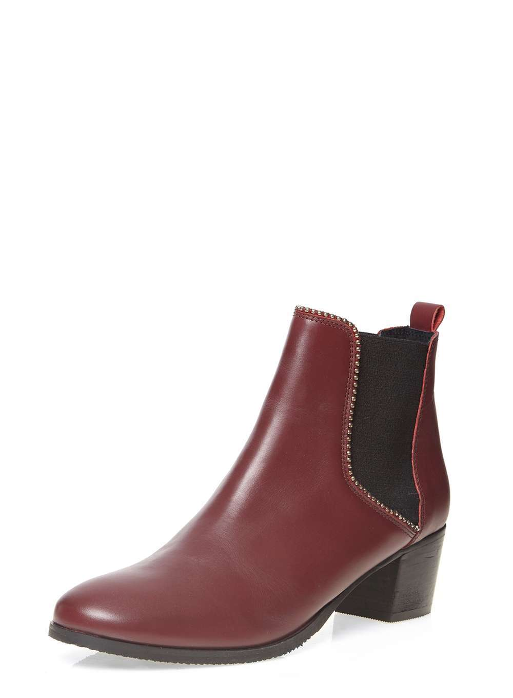 Womens **Ravel Cherry Ankle Boots Red - predominant colour: burgundy; secondary colour: black; occasions: casual, creative work; material: leather; heel height: mid; heel: block; toe: round toe; boot length: ankle boot; finish: plain; pattern: plain; style: chelsea; season: a/w 2016; wardrobe: highlight