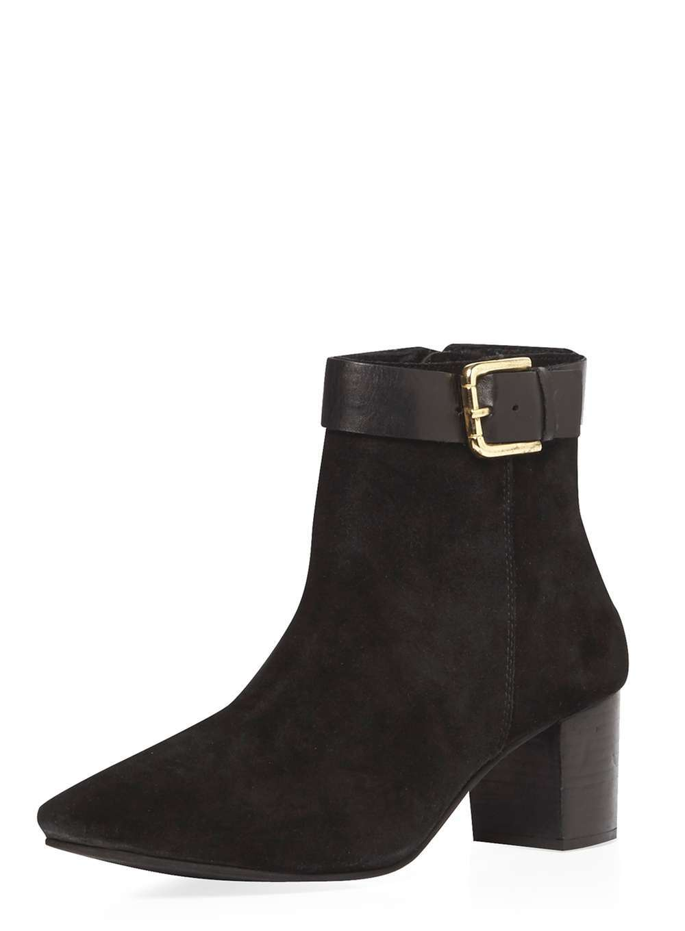 Womens *Ravel Black Ankle Boots Black - predominant colour: black; occasions: casual, work, creative work; material: suede; heel height: mid; embellishment: buckles; heel: block; toe: pointed toe; boot length: ankle boot; style: standard; finish: plain; pattern: plain; wardrobe: basic; season: a/w 2016