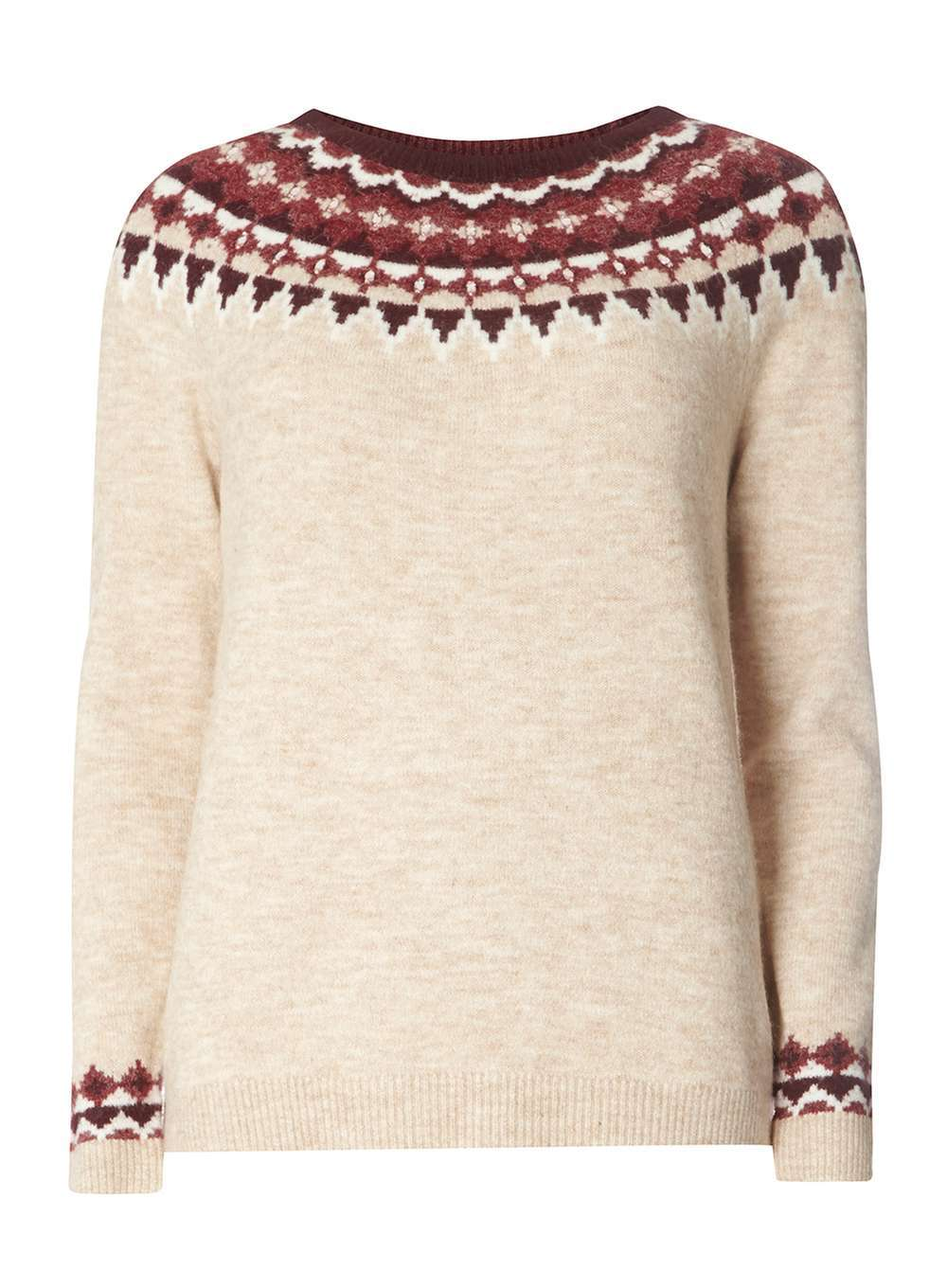 Womens Oatmeal Embellished Fairisle Jumper Beige - neckline: round neck; style: standard; predominant colour: ivory/cream; occasions: casual, creative work; length: standard; fibres: acrylic - mix; fit: standard fit; pattern: fairisle; sleeve length: long sleeve; sleeve style: standard; texture group: knits/crochet; pattern type: knitted - fine stitch; pattern size: standard; season: a/w 2016; wardrobe: highlight