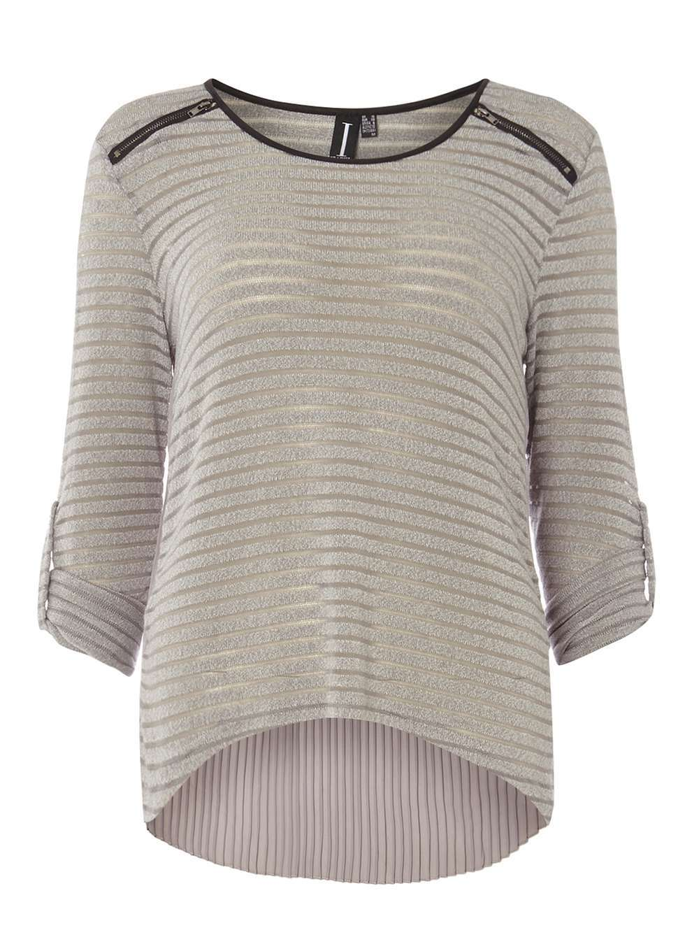 Womens **Izabel London Grey Top Grey - pattern: striped; predominant colour: light grey; occasions: casual; length: standard; style: top; fibres: cotton - mix; fit: body skimming; neckline: crew; sleeve length: 3/4 length; sleeve style: standard; texture group: knits/crochet; pattern type: fabric; pattern size: standard; season: a/w 2016; wardrobe: highlight