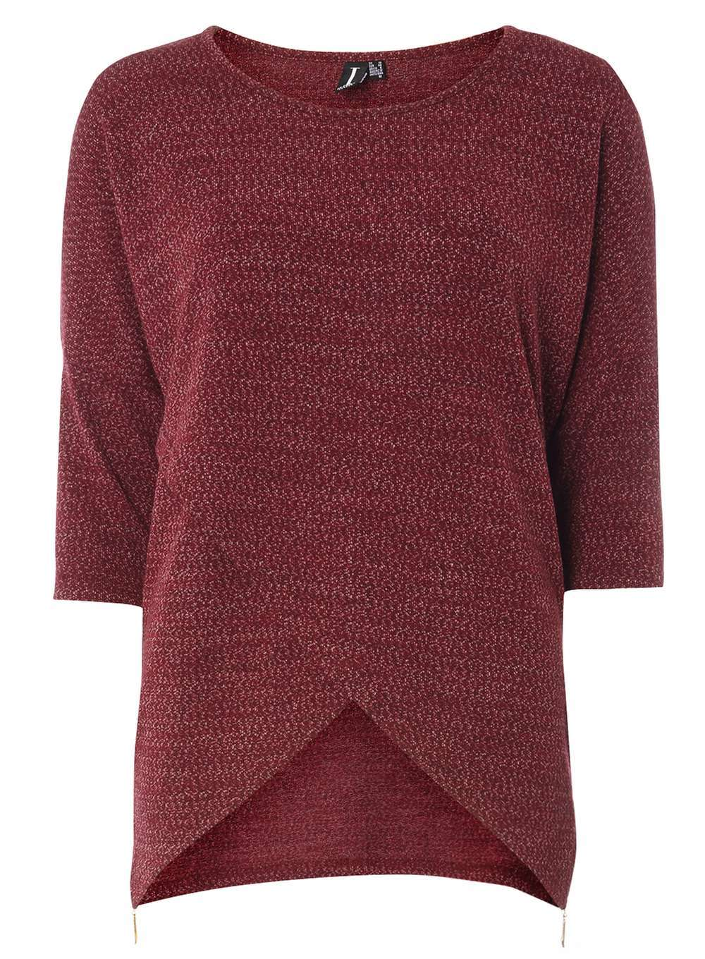 Womens **Izabel London Burgundy Top Red - neckline: round neck; pattern: plain; predominant colour: burgundy; occasions: casual; length: standard; style: top; fit: body skimming; sleeve length: 3/4 length; sleeve style: standard; texture group: knits/crochet; pattern type: fabric; fibres: viscose/rayon - mix; season: a/w 2016; wardrobe: highlight