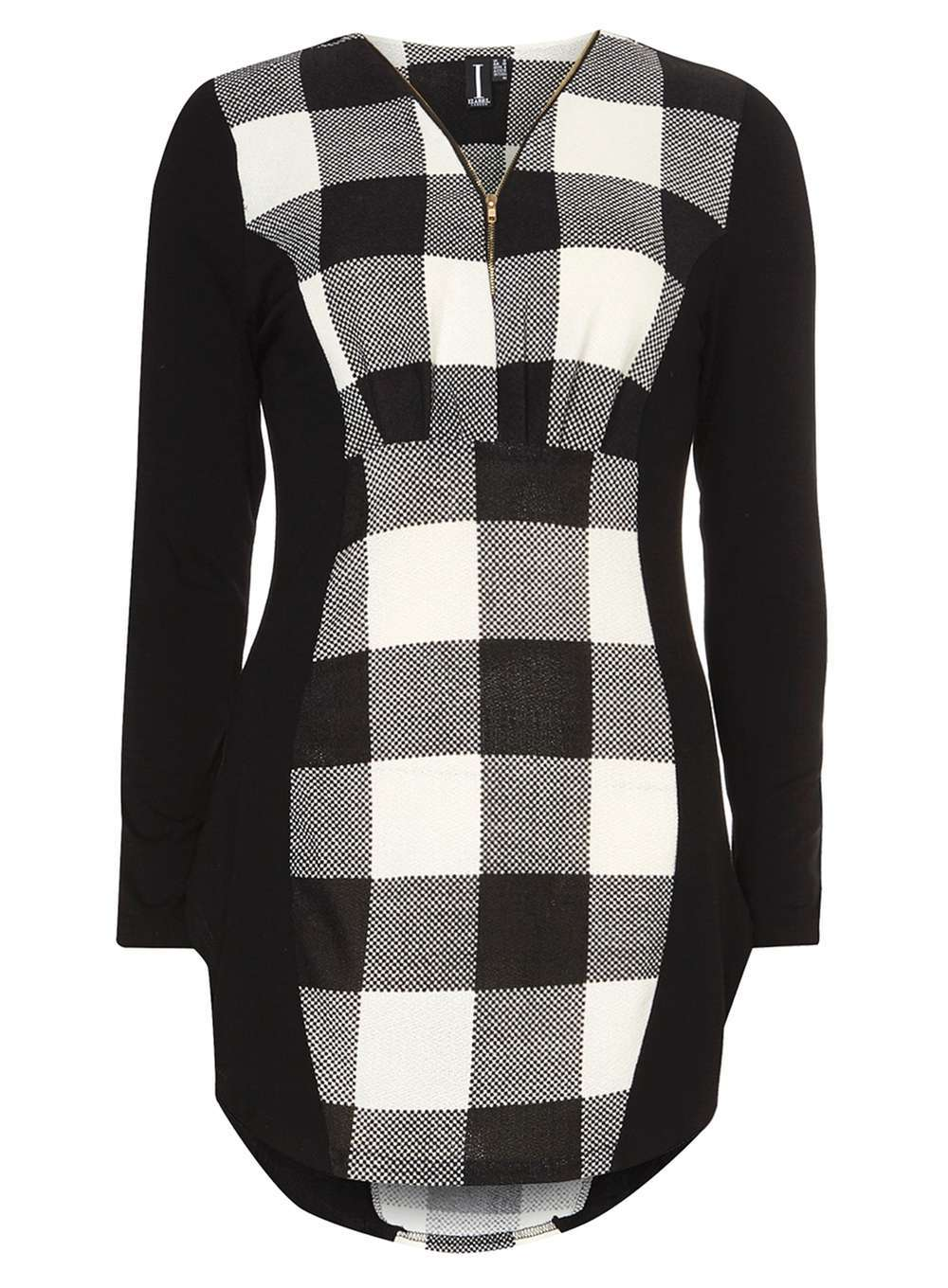 Womens **Izabel London Black And White Top Black - neckline: v-neck; pattern: checked/gingham; length: below the bottom; secondary colour: white; predominant colour: black; occasions: casual; style: top; fibres: polyester/polyamide - stretch; fit: body skimming; sleeve length: long sleeve; sleeve style: standard; pattern type: fabric; pattern size: standard; texture group: jersey - stretchy/drapey; multicoloured: multicoloured; season: a/w 2016; wardrobe: highlight; embellishment location: bust