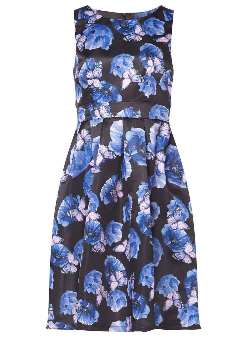 Womens **Izabel London Multi Blue Dress Blue - length: below the knee; sleeve style: sleeveless; secondary colour: diva blue; predominant colour: navy; occasions: evening; fit: fitted at waist & bust; style: fit & flare; fibres: polyester/polyamide - 100%; neckline: crew; sleeve length: sleeveless; texture group: crepes; pattern type: fabric; pattern: patterned/print; multicoloured: multicoloured; season: a/w 2016