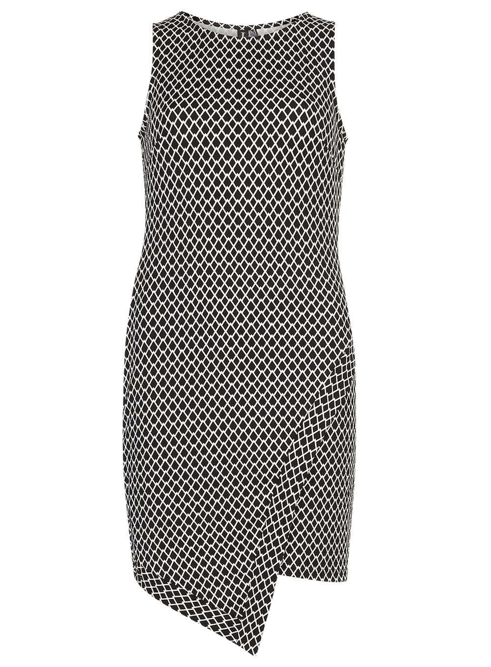 Womens **Izabel London Black And White Dress Black - style: shift; fit: tailored/fitted; sleeve style: sleeveless; secondary colour: white; predominant colour: black; occasions: evening; length: just above the knee; fibres: polyester/polyamide - stretch; neckline: crew; sleeve length: sleeveless; pattern type: fabric; pattern: patterned/print; texture group: brocade/jacquard; season: a/w 2016; wardrobe: event