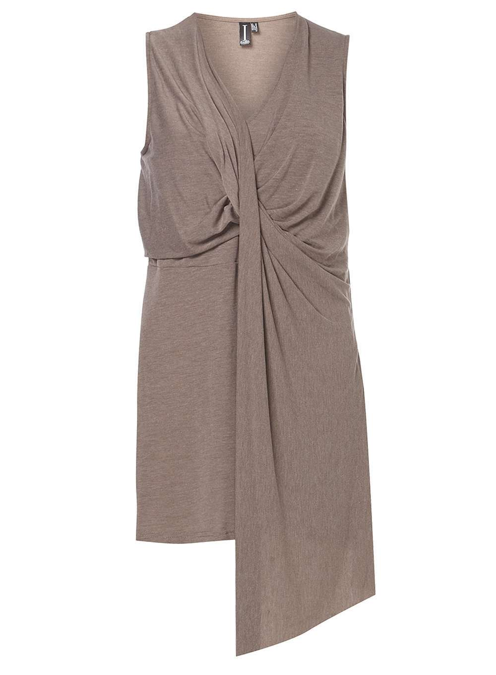 Womens **Izabel London Latte Top White - neckline: v-neck; pattern: plain; sleeve style: sleeveless; waist detail: twist front waist detail/nipped in at waist on one side/soft pleats/draping/ruching/gathering waist detail; predominant colour: taupe; occasions: casual, creative work; style: top; fit: body skimming; length: mid thigh; sleeve length: sleeveless; bust detail: tiers/frills/bulky drapes/pleats; pattern type: fabric; texture group: jersey - stretchy/drapey; fibres: viscose/rayon - mix; season: a/w 2016