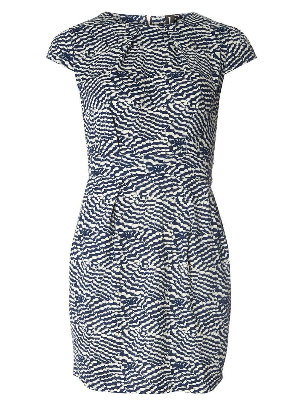Womens **Izabel London Multi Blue Dress Blue - style: shift; sleeve style: capped; fit: tailored/fitted; back detail: tie at back; secondary colour: ivory/cream; predominant colour: navy; occasions: evening; length: just above the knee; fibres: polyester/polyamide - stretch; neckline: crew; sleeve length: short sleeve; pattern type: fabric; pattern: patterned/print; texture group: jersey - stretchy/drapey; season: a/w 2016; wardrobe: event